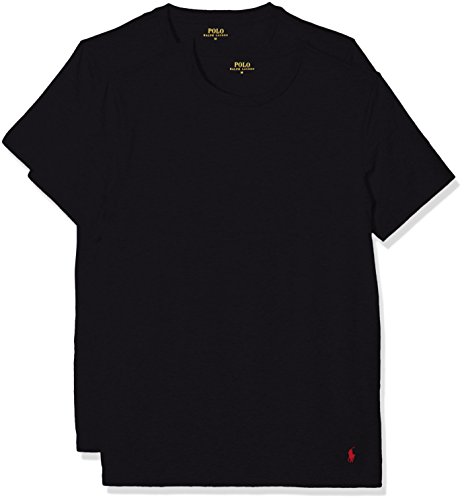 Polo Ralph Lauren 2PK Short Sleeve Crew, Vestaglia Uomo, Schwarz (2Pk Polo Black 001), Large (pacco da 2)