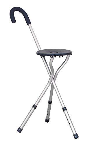 Homecraft - Bastone da passeggio con sedile, base d'appoggio a 3 piedi, altezza regolabile, Colore Bronzo