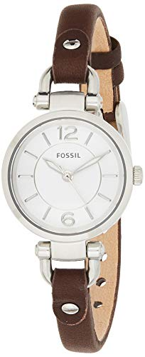 Fossil Women's Mini Georgia Quartz Stainless Steel and Leather Casual Watch, Color: Silver, Brown (Model: ES3861)