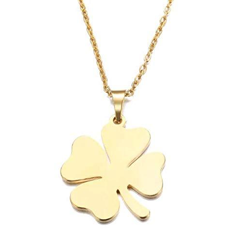 Collar Colgante de Mujer, Trébol de Cuatro 4 Hojas Oro, Cadena Chapada en Oro Acero Inoxidable - Trebol de la Suerte Dorado
