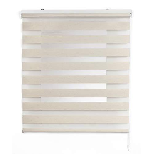 Stores Deco Estor Noche y Día, Estor Enrollable con Doble Tejido para Ventanas y Puertas (180 cm x 180 cm, Lino)
