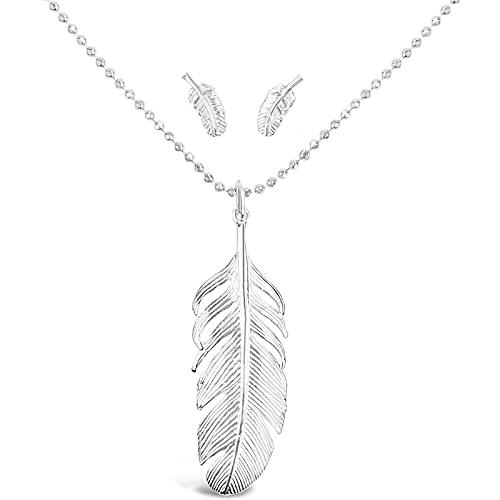 DUR Schmuck Juego de pluma, plata 925, pulida, rodiada, colgante con cadena de bolas de 50 cm y pendientes de pluma, P2737, K2255, S1433