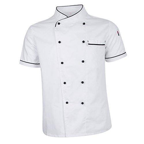 Sharplace Cappotto Cuoco Chef Cucina Chef Manica Corta Uniforme Manica Corta - bianca, M