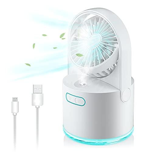 Mini ventilador de mesa USB con humidificador, 3 velocidades y 2 modos de pulverización, depósito de agua de 300 ml, 7 colores de luces nocturnas, carga USB para dormitorio, escuela, oficina, camping
