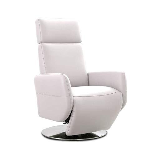 Cavadore TV-Sessel Cobra mit 2 E-Motoren / Elektrischer Fernsehsessel mit Fernbedienung / Relaxfunktion, Liegefunktion / Ergonomie S / Belastbar bis 130 kg / 71 x 108 x 82 / Echtleder Weiß