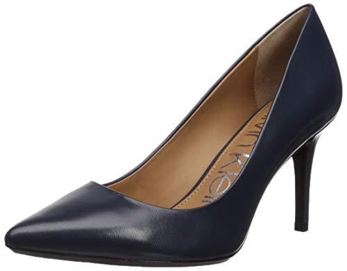 Calvin Klein Women's Gayle Pump, Navy Leather, 10 Wide US