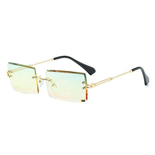 OcchialidaSoledaUomo Moda Popolare Occhiali da Sole Rettangolari Senza Montatura Donna Uomo tonalità Occhiali da Vista Uv400 Oro-Giallo Rosa