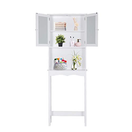 kinsuite Bathroom Shelf Over The Toilet 3 Tier Freestanding Wood Space Saver Double Door Toiletry Storage Cabinet
