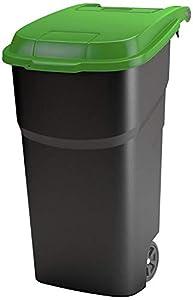 Rotho Atlas, Cubo de basura de 100 litros con tapa y ruedas, Plástico PP sin BPA, negro, verde, 100l 59.0 x 51.0 x 92.0 cm