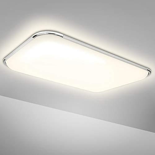 Hengda Plafoniera LED, 48W lampada da soffitto 4080LM, 4000K Bianco neutro, IP44 Impermeabile lampade da bagno per bagno, soggiorno, camera da letto, sala, cucina, balcone