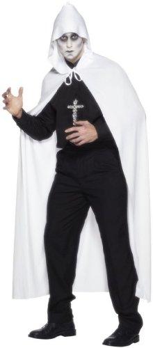 Smiffys Cape à capuche, Blanc, 75 in/191 cm