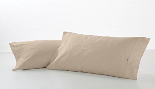 ESTELA - Funda de Almohada Combi Liso 200 Hilos algodón Peinado, Color Piedra - 2 Piezas de 45x95 cm biés - 100% Algodón - 200 Hilos
