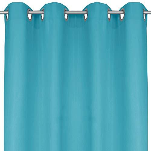 Bestlivings Blickdichte Türkise Gardine mit Ösen in 140x145 cm (BxL), in vielen Größen und Farben