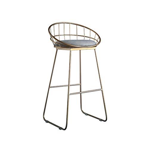 LIYG Barhocker, Thekenstuhl Küche Frühstücksstuhl Schwamm Gepolsterter Stuhl, Metallhochstuhl (Color : Gold, Size : 65cm)