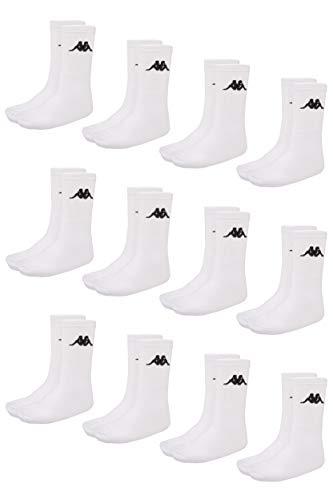 Kappa VEGRIT Sportsocken Unisex | ideal auch als Wandersocken | Damen- und Herren Socken für Sport und Freizeit | atmungsaktiver Baumwoll-Polyester-Elasthan Mix | 12er Pack, weiß, Größe 43-46