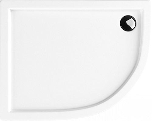 Duschwanne 80x100x14 R55 Links Duschtasse Viertelkreis Asymmetrisch Acrylwanne ®EPS TRÄGER INTEGRIERT Acrylschürze Stabilsound ®