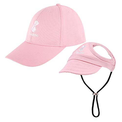 Pawaboo Dog Parent-Child Hats, Pet's Mom/Dad Baseball Cap Set, Dog Visor Cap Sun Protection Hats with Ear Holes and Adjustable Strap, Family Matching Hats for Owner and Lovely Pet, Large, Pink