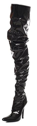 Crotch Overknee High Heels schwarz oder rot Gr 36-46 (43, Schwarz)