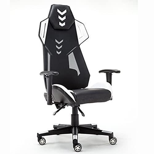 HXJU Silla para juegos de carreras, silla de oficina de cuero ergonómica, apoyabrazos ajustable y reclinable, asiento Esport para la mejor experiencia de juego negro