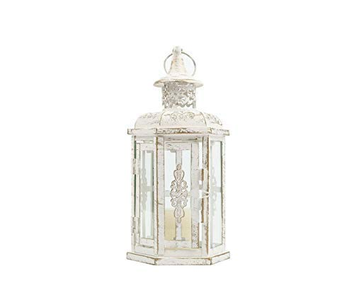 JHY DESIGN Decorative Candle lantern-10inch High Vintage Style Hanging Lantern Metal Candleholder for Indoor Outdoor Events Parities and Weddings (White with Gold Brush)
