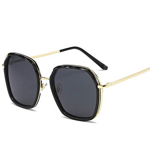 JINZUN Gafas de Sol de Moda Gafas de Sol con Personalidad Tendencia Gafas de Tiro Callejero Protección UV Unisex Círculo Negro Negro Gris Película
