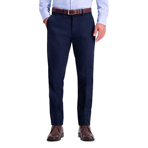 Haggar Men's Premium No Iron Khaki Slim Fit Flat Front Casual Pant, Dark Navy, 34Wx29L