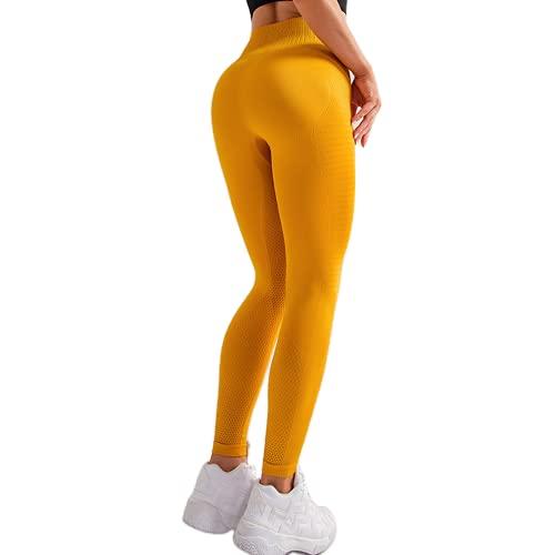 Pantalones de Yoga sin Costuras de Cintura Alta para Mujer, Mallas de Fitness Anti-Sentadillas, súper Estiramiento, Abdomen, Caderas, Pantalones para Correr C L