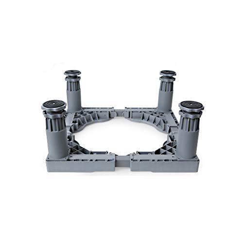 Socle Lave Linge Seche Linge Base de Machine à Laver Réfrigérateur 47.5-63cm Réglable Support Electro Ménager Universel Réduction du Bruit Antichoc 4/8/12 Pied Charge 400 kg (Gris)