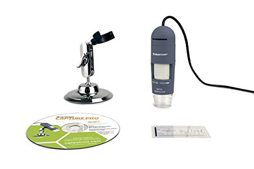 Celestron Deluxe Handheld Digital Microscope, Capture Your Discoveries, (44302-C), Grey