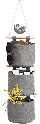 1 Pack Cotton Linen Fabric Closet Detachable Foldable Washable Hanging Storage Bag with 3 Pockets Over The Wall Door Organizer for Room Bathroom by AARainbow (Gray)