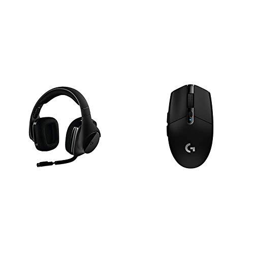 Logitech G533 Wireless Gaming Headset – DTS 7.1 Surround Sound – Pro-G Audio Drivers Bundle with Logitech G305 Lightspeed Wireless Gaming Mouse, Black