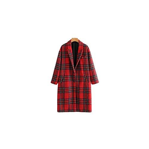 NO BRAND dames rood geruit wollen mantel lang dikke warme winterjas lange mouwen geruit lange mouwen omlegkraag zolen tops recht