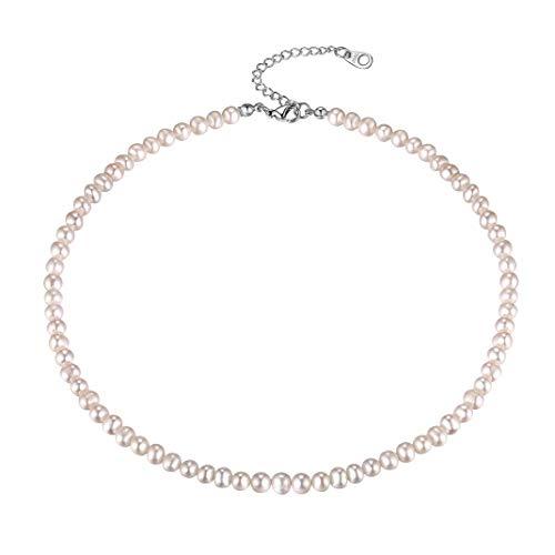 GoldChic Jewelry Collana di Perle d'Acqua Dolce Naturale, Girocollo Regolabile Rotondo, Gioielli da Festa per Donne con Confezione Regalo