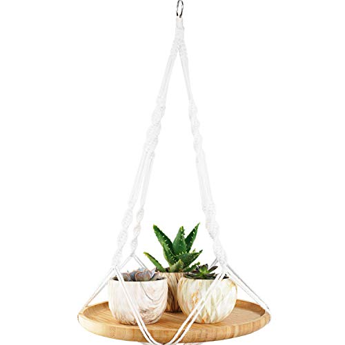 ANOTION Pflanzen-Makramee-Aufhänger Regal, Indoor Hanging Planter Shelf, Plant Hanger Shelf Boho Home Decor Cotton Rope with Bamboo Tray (9.8