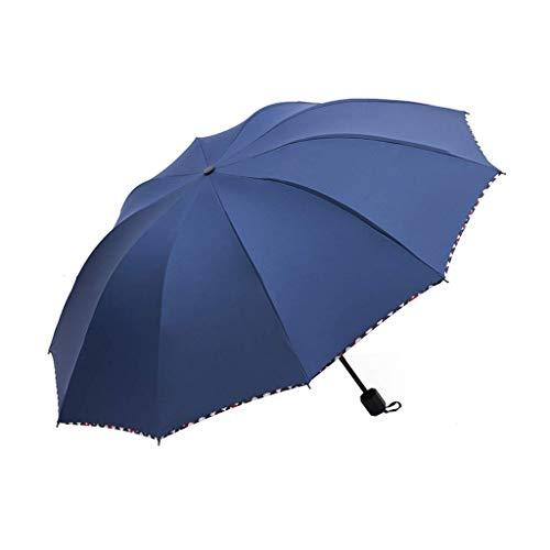 JIAJBG Paraguas Plegables Paraguas a Prueba de Viento, Compacta Doble Ventilada Paraguas Invertida para Viajes con Botón Auto Abierto/Cerrar Fácil de cargar/Azul oscuro