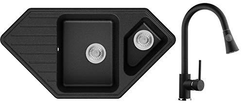 Granitspüle Graphit 97 x 49 cm, Spülbecken + Küchenarmatur + Siphon Klassisch, Eckspüle ab 80er Unterschrank, Küchenspüle von Primagran