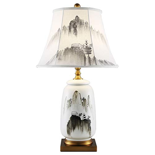liushop Bedside Table Lamp Asian Chinese Ceramic Bedside Table Lamp Chinese Landscape Ceramic Lamp Post Hand-painted Linen Lampshade Bedroom Living Room Study Desk Lamp Desk Lamp