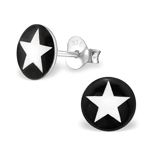 Laimons Damen-Ohrstecker Stern Scheibe schwarz weiß Sterling Silber 925