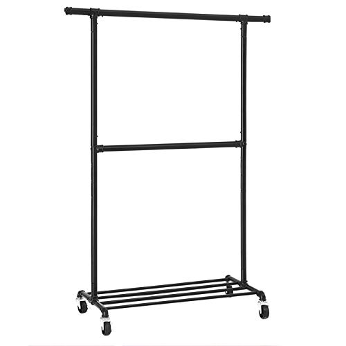 SONGMICS Industrial Clothes Rack on Wheels, Maximum load of 110 Kg, Double Garment Hanging Rod, Heavy Duty Commercial Display, Black HSR62BK