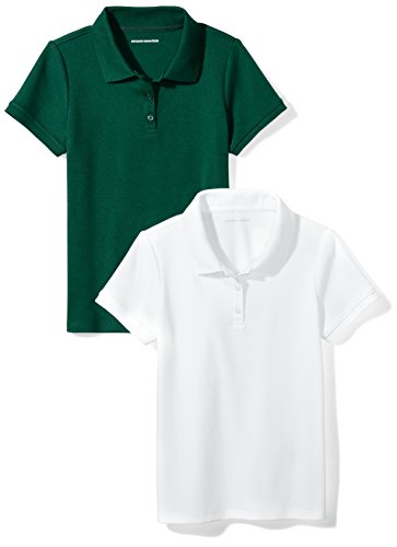 Amazon Essentials Little Girls' Uniform Interlock Polo, Hunter Green/White, S (6-7)