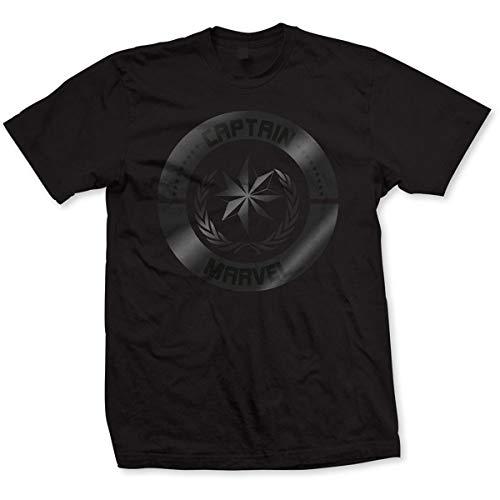 T-Shirt # XXL Unisex Black # Captain Marvel Silver Circle [Import]