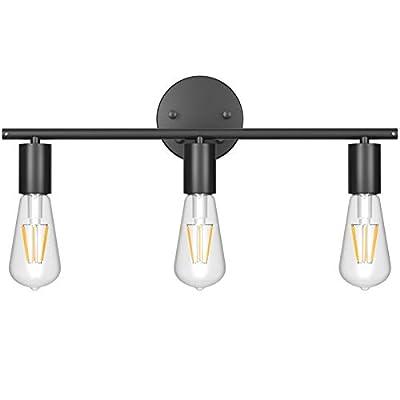 Ralbay Black Wall Sconce 3 Light Industrial Matte Black Vanity Light Fixtures, Vintage Edison Wall Lamp Lighting Fixture for Bathroom