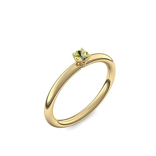 Goldring Peridot 750 + inkl. Luxusetui + Peridot Ring Gold Peridotring Gold (Gelbgold 750) - Grace Amoonic Schmuck Größe 52 (16.6) AM159 GG750PEFA52