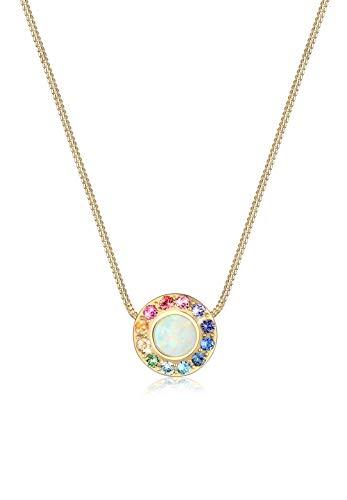 Elli Halskette Opal Regenbogen Swarovski® Kristalle 925 Silber