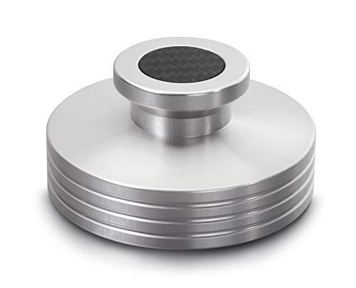 Dynavox Plattenspieler-Stabilizer PST330, Auflagegewicht für Plattenspieler aus Aluminium, Gewicht 330 g, mit Carbonauflagefläche und Inlay, Silber