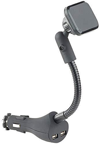 Callstel Autohalterung: Flexible Kfz-Magnet-Halterung mit 2 USB-Ports für Smartphones, 3,1 A (Telefonhalterung)