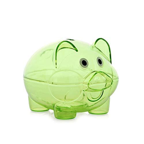 Guajave Hucha de plástico transparente con forma de cerdito para monedas (verde, grande)