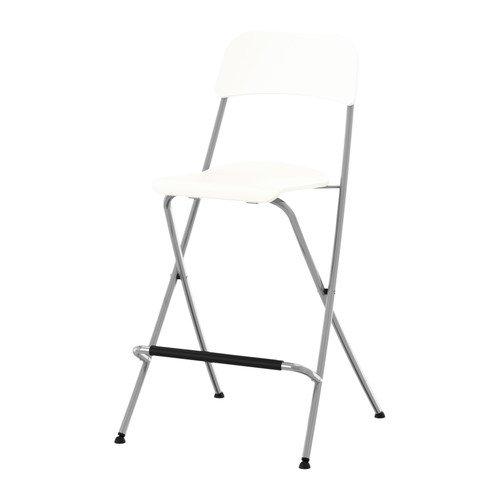Ikea Franklin - Taburete con Respaldo Plegable, Blanco, Plata Color