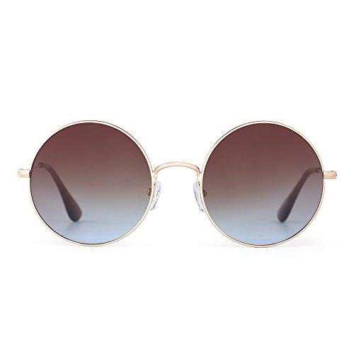 JM Retro Tondo Metallo Occhiali da Sole Donne Maschi Uomo Gradient Cerchio Lente UV400 (Oro/Gradiente Marrone)