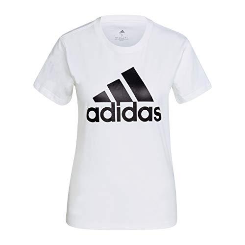 adidas W Bl T Maglietta da Donna, Donna, Maglietta, GL0649, Bianco/Nero, S
